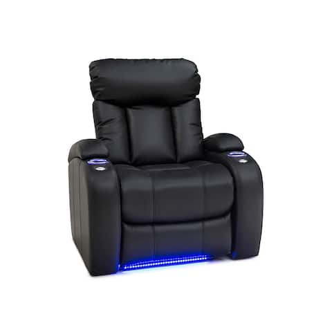 Seatcraft Orleans Home Theater Seating Power Recliner with Storage, USB Charging, Lighted Cup Holders, and Swivel Tray Table