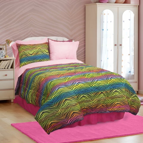Veratex Rainbow Zebra 3 & 4 Piece Comforter Set