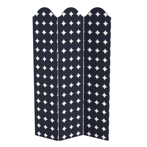 Skyline Furniture Curved Screen in Large Dot Navy