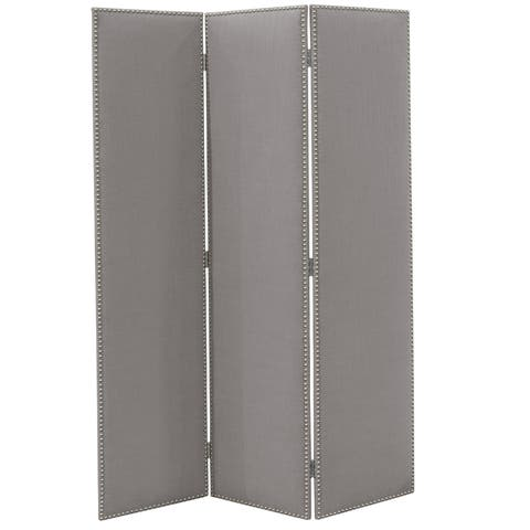 Skyline Furniture Straight Screen With Nail Buttons in Linen