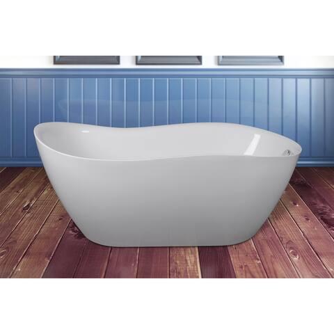 """AKDY 67"""" Acrylic Freestanding Bathroom Shower Spa Overflow Modern Bathtub"""