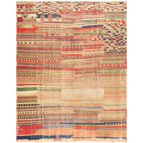 eCarpetGallery Hand-knotted Antalya Vintage Dark Red, Green Wool Rug - 7'2 x 9'1
