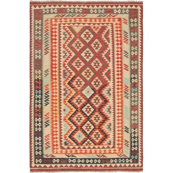 eCarpetGallery Flat-weave Sivas Light Blue , Red Wool Kilim - 5'7 x 8'2