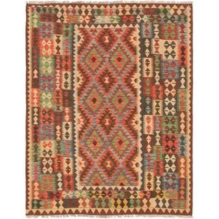 eCarpetGallery  Flat-weave Kashkoli FW Red Wool Kilim - 5'6 x 6'11