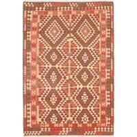 eCarpetGallery  Flat-weave Sivas Dark Red Wool Kilim - 5'8 x 8'4