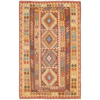 eCarpetGallery  Flat-weave Sivas Brown, Cream Wool Kilim - 5'5 x 8'5