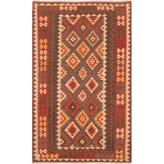 eCarpetGallery  Flat-weave Kashkoli FW Dark Red Wool Kilim - 5'3 x 8'7
