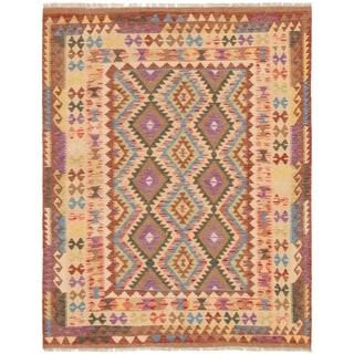 eCarpetGallery  Flat-weave Hereke FW Brown, Ivory Wool Kilim - 5'2 x 6'8