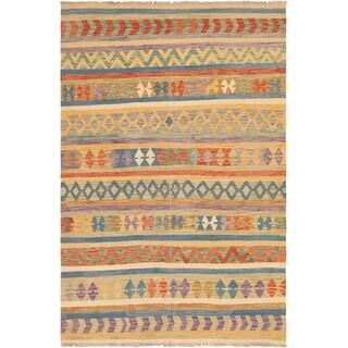 eCarpetGallery  Flat-weave Hereke FW Blue, Tan Wool Kilim - 6'6 x 9'8