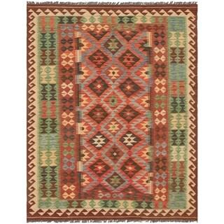 eCarpetGallery  Flat-weave Kashkoli FW Dark Red Wool Kilim - 5'3 x 6'9