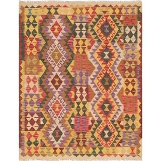 eCarpetGallery  Flat-weave Hereke FW Light Gold, Red Wool Kilim - 5'2 x 6'7