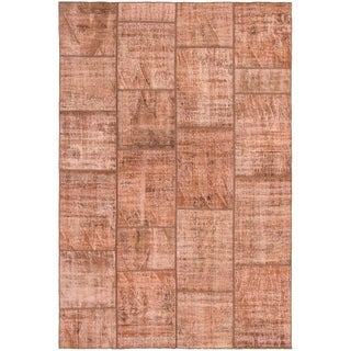 eCarpetGallery  Hand-knotted Color Transition Patch Brown Wool Rug - 6'10 x 10'0