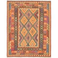 eCarpetGallery  Flat-weave Sivas Red Wool Kilim - 5'5 x 7'0