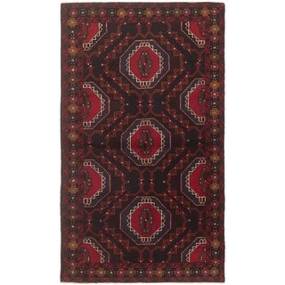 eCarpetGallery  Hand-knotted Rizbaft Black, Red Wool Rug - 3'5 x 6'1