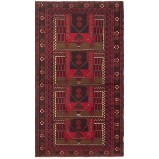 eCarpetGallery  Hand-knotted Rizbaft Red Wool Rug - 3'6 x 6'4