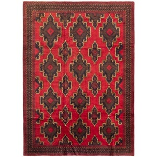 eCarpetGallery  Hand-knotted Rizbaft Red Wool Rug - 6'4 x 10'0