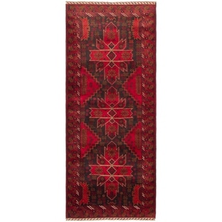 eCarpetGallery  Hand-knotted Rizbaft Red Wool Rug - 2'11 x 6'9