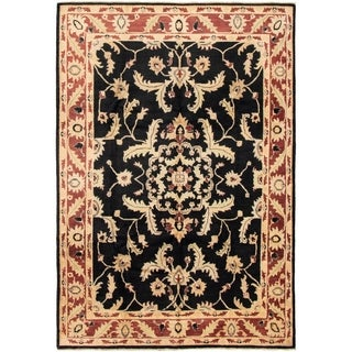 eCarpetGallery  Hand-knotted Finest Ziegler Chobi Black Wool Rug - 6'8 x 9'8
