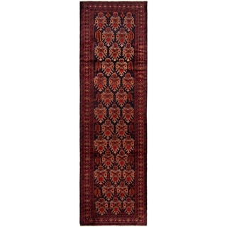 eCarpetGallery  Hand-knotted Rizbaft Dark Navy, Dark Red Wool Rug - 3'1 x 10'6
