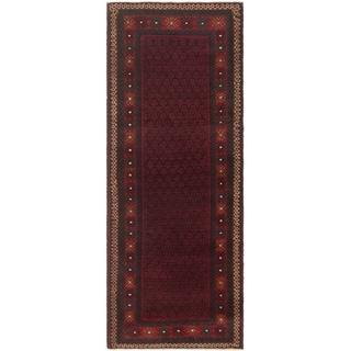eCarpetGallery  Hand-knotted Rizbaft Dark Navy, Red Wool Rug - 2'7 x 6'11