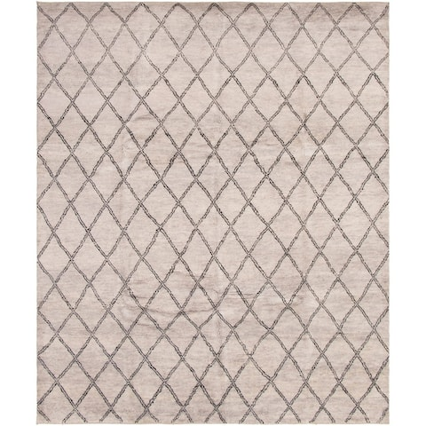 Hand-knotted Arlequin Grey Wool Rug