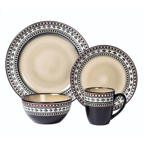 Lorren Home Trends 16 Piece Glazed Dinnerware Neutral (Service for 4)