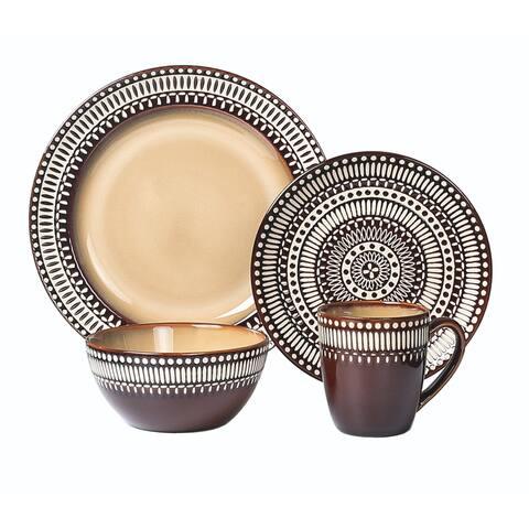 Lorren Home Trends 16 Piece Glazed Dinnerware Rust (Service for 4)