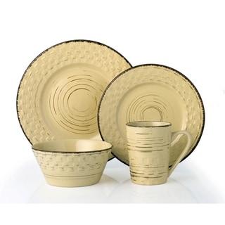 Lorren Home Trends 16 Piece Distressed Weave Dinnerware Set-Buttercup
