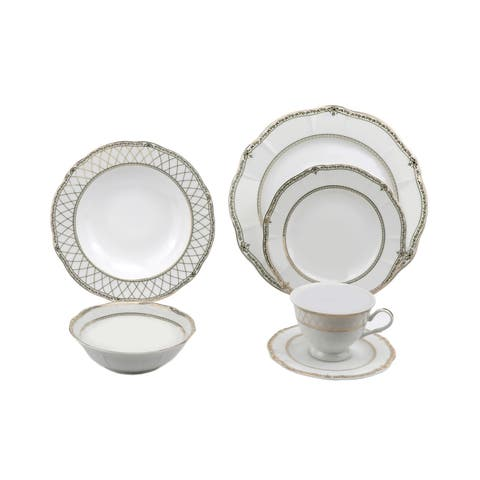 Lorren Home Trends 24 Piece Wavy Fine China Mix and Match Gold Dinnerware (Service for 4)