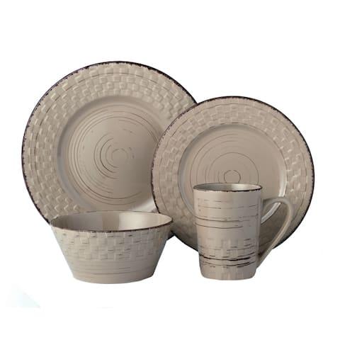 Lorren Home Trends 16 Piece Distressed Weave Dinnerware Set-Mocca