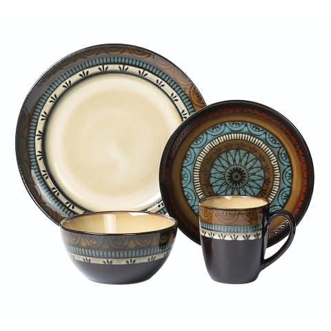 Lorren Home Trends 16 Piece Glazed Dinnerware Mosaic (Service for 4)