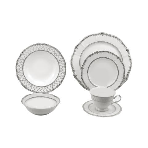 Lorren Home Trends 24 Piece Wavy Fine China Mix and Match Silver Dinnerware (Service for 4)