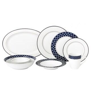 Lorren Home 50 Piece New Bone China Dinnerware Set Service for 8-Oxford