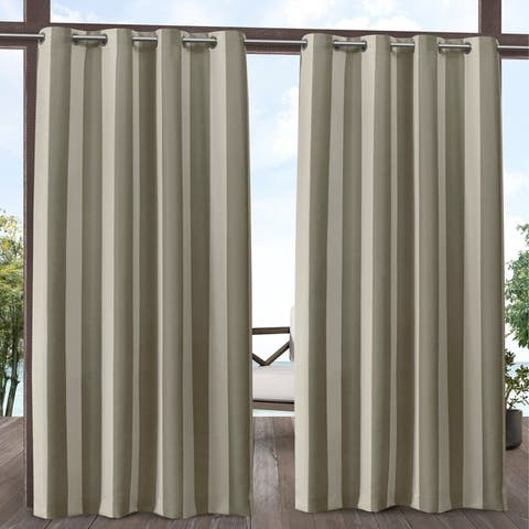 ATI Home Canopy Stripe Outdoor Grommet Top Curtain Panel Pair