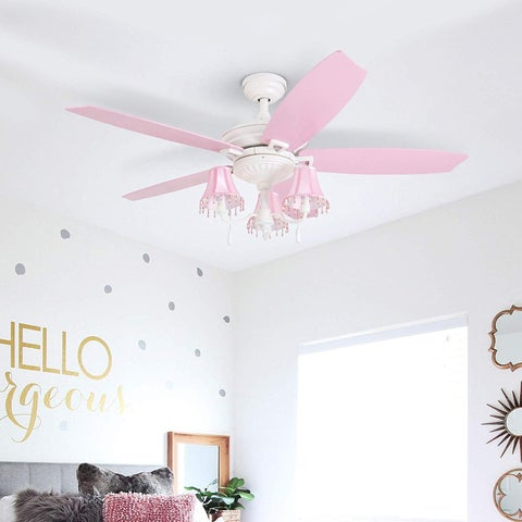 "Prominence Home Elsa 48"" Shabby Chic LED White Ceiling Fan with Dusty Rose Blades and Soft Pink Lamp Shades"