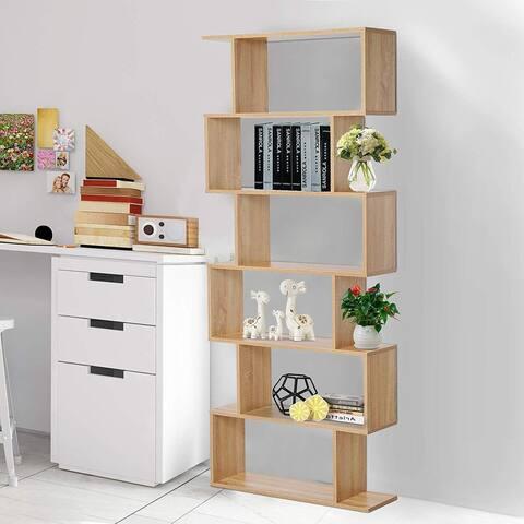 "HOMCOM 75.5"" H Bookcase 6 Shelf S-Shaped Bookshelf Wooden Storage Display Stand Shelf Organizer Free Standing Oak"