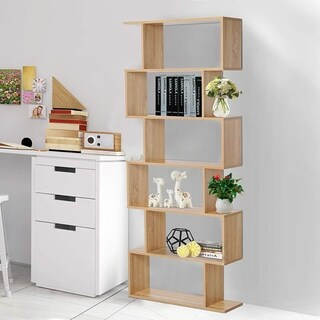 HomCom 5.5' 6 Tier Wooden Modern S-Shaped Shelf Unit