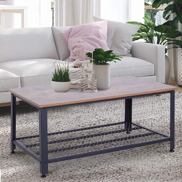 HomCom Industrial Style Large Modern Metal and Wood Grain Coffee Table