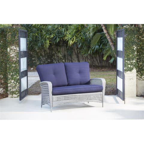 COSCO Outdoor Living Lakewood Ranch Steel Woven Wicker Loveseat with Cushions and Coffee Table