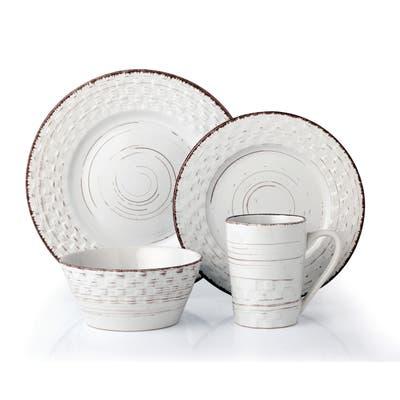Lorren Home Trends 16 Piece Distressed Weave Dinnerware Set-White