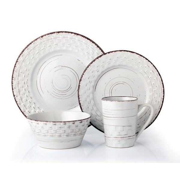 Lorren Home Trends 16 Piece Distressed Weave Dinnerware Set-White. Opens flyout.