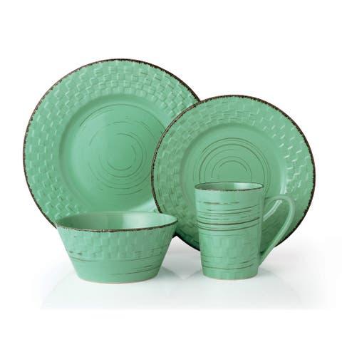 Lorren Home Trends 16 Piece Distressed Weave Dinnerware Set-Green