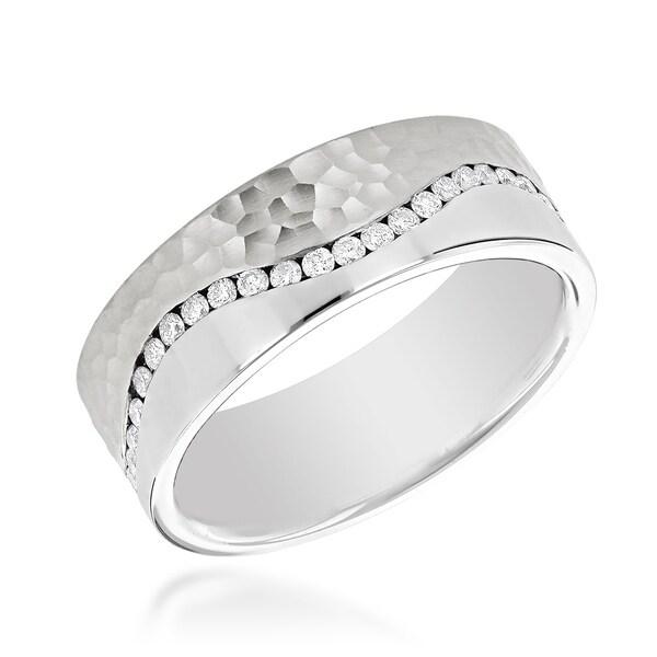 35af4c2656b84 Shop Two Tone Mens G/VS Diamond Eternity Wedding Band 14K Gold ...