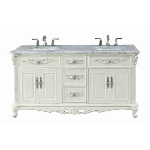 Benton Collection Verondia Vanilla Beige Vintage Style 64-inch Bath Vanity