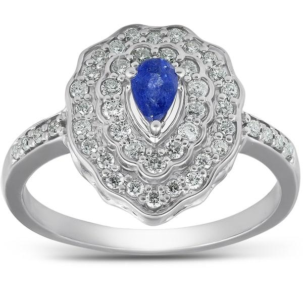 Shop Pompeii3 10k White Gold 3/4 Ct TDW Genuine Blue