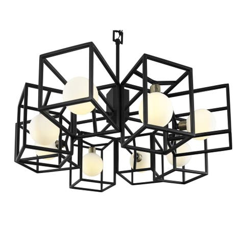 Plaza 8-light Carbon and Havana Gold Pendant