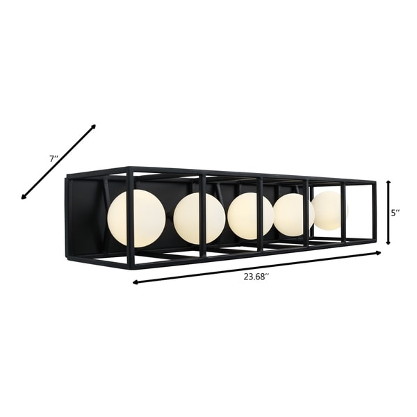 Plaza 5-light Carbon and Havana Gold LED Bath Light