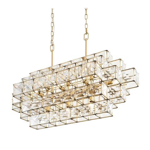Cubic 14-light Calypso Gold Linear Pendant