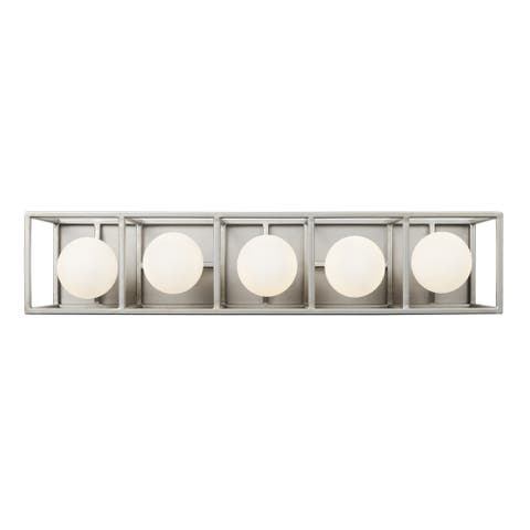 Plaza 5-light Silverado and Carbon LED Bath Light