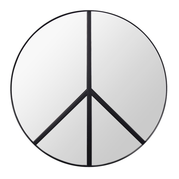 Paz 30-inch Black Round Peace Sign Accent Mirror